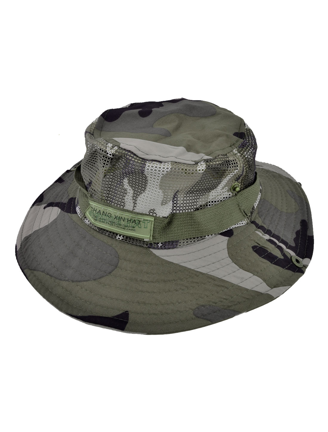 Men Camouflage Pattern Round Brim Military Mesh Bucket Sun Hat Cap Tricolor