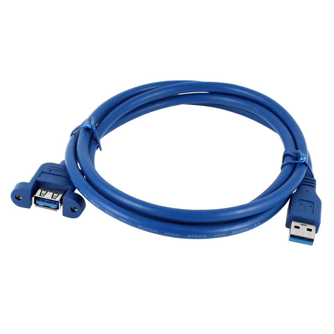 Blue 1.5M USB 3.0 A Male to A Female Nut Hole Extension Cable