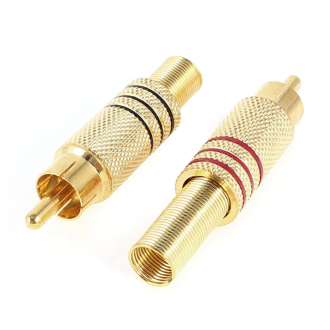 2 Pcs Spring End RCA Male Socket Audio Video Adapter Connector Gold Tone