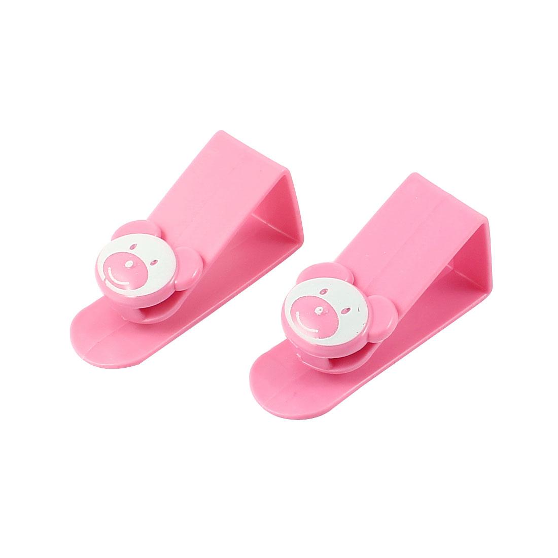 2 Pcs Bear Face Pattern Plastic Garbage Bag Hanger Desk Table Hook Pink