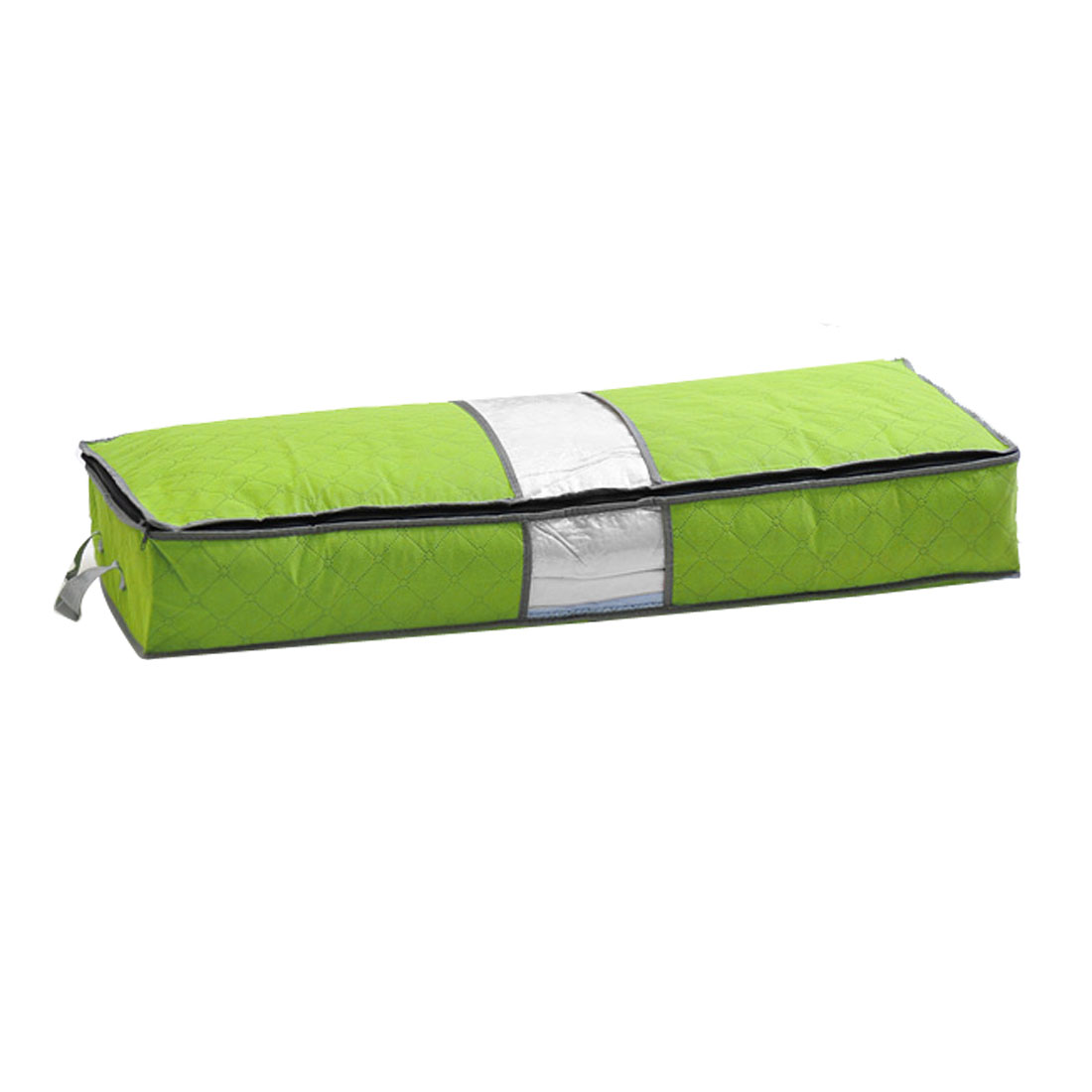 Bedroom Green Rectangle Design Zippered Clothes Quilt Storage Bag Pouch