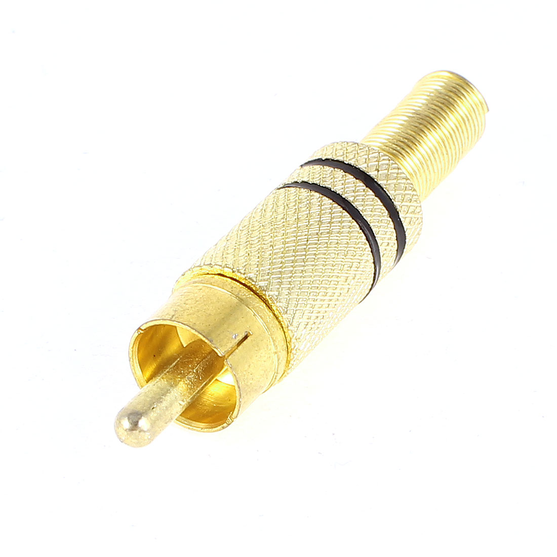 Metal Soldering Spring End Male RCA Plug Audio Video Gold Plated Connector