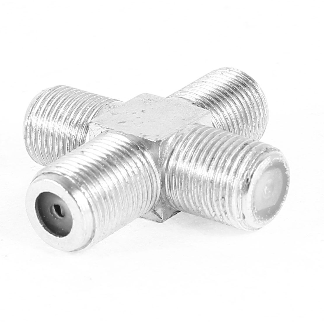 F Type Female to Female Jack 4-Way RF Adapter Connector Silver Tone