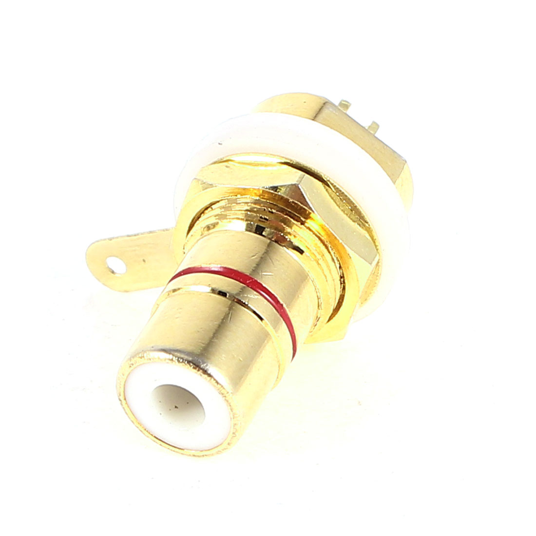 Gold Tone Metal RCA Female Jack Socket Bulkhead Soldering Connector