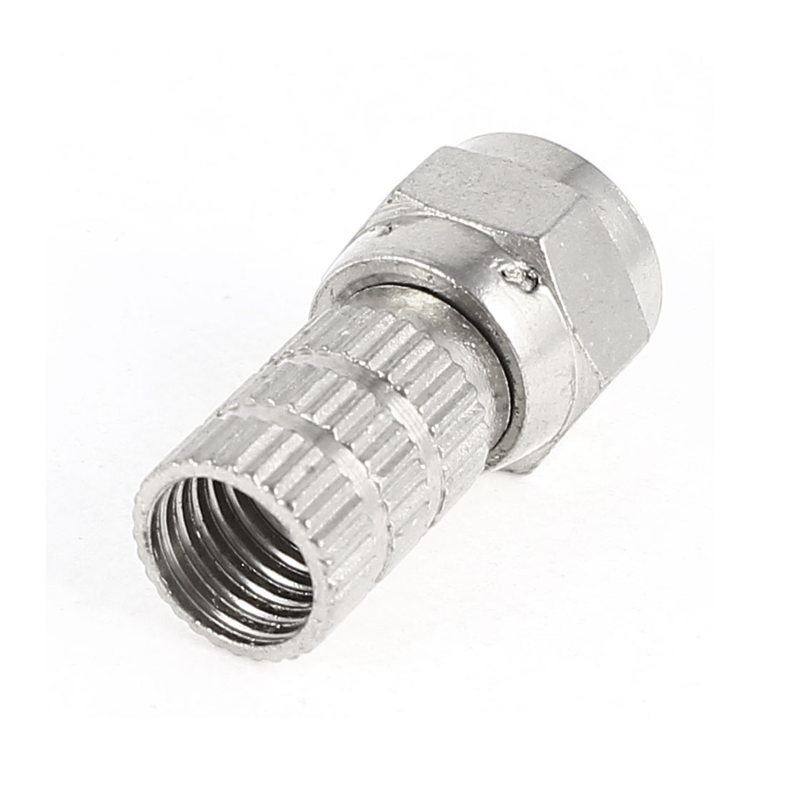 Silver Tone F-Type Crimp Connector for Quad Shield RG6 Cable