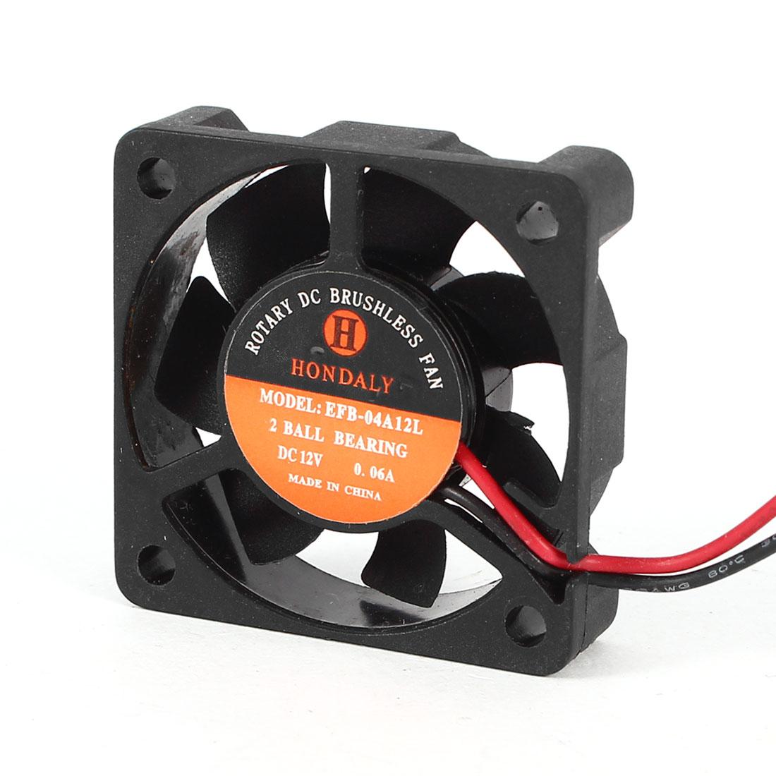DC 12V 0.06A 40mmx40mmx10mm 2 Ball Bearing Computer Case Cooling Fan Cooler Black