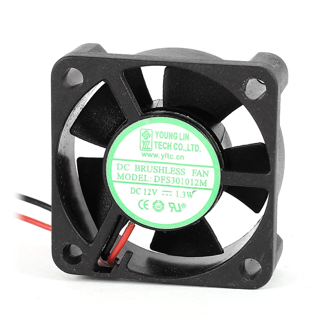 DC 12V 1.3W 3010 30mmx30mmx10mm 2-Wire Cooling Fan Black for Chipset Radiator