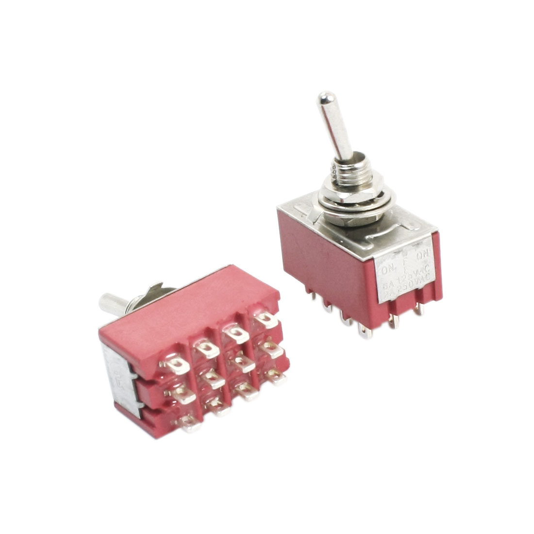 AC 125V 6A 4PDT ON/OFF/ON 3 Positions 12 Terminals Electric Toggle Switch Red 2pcs