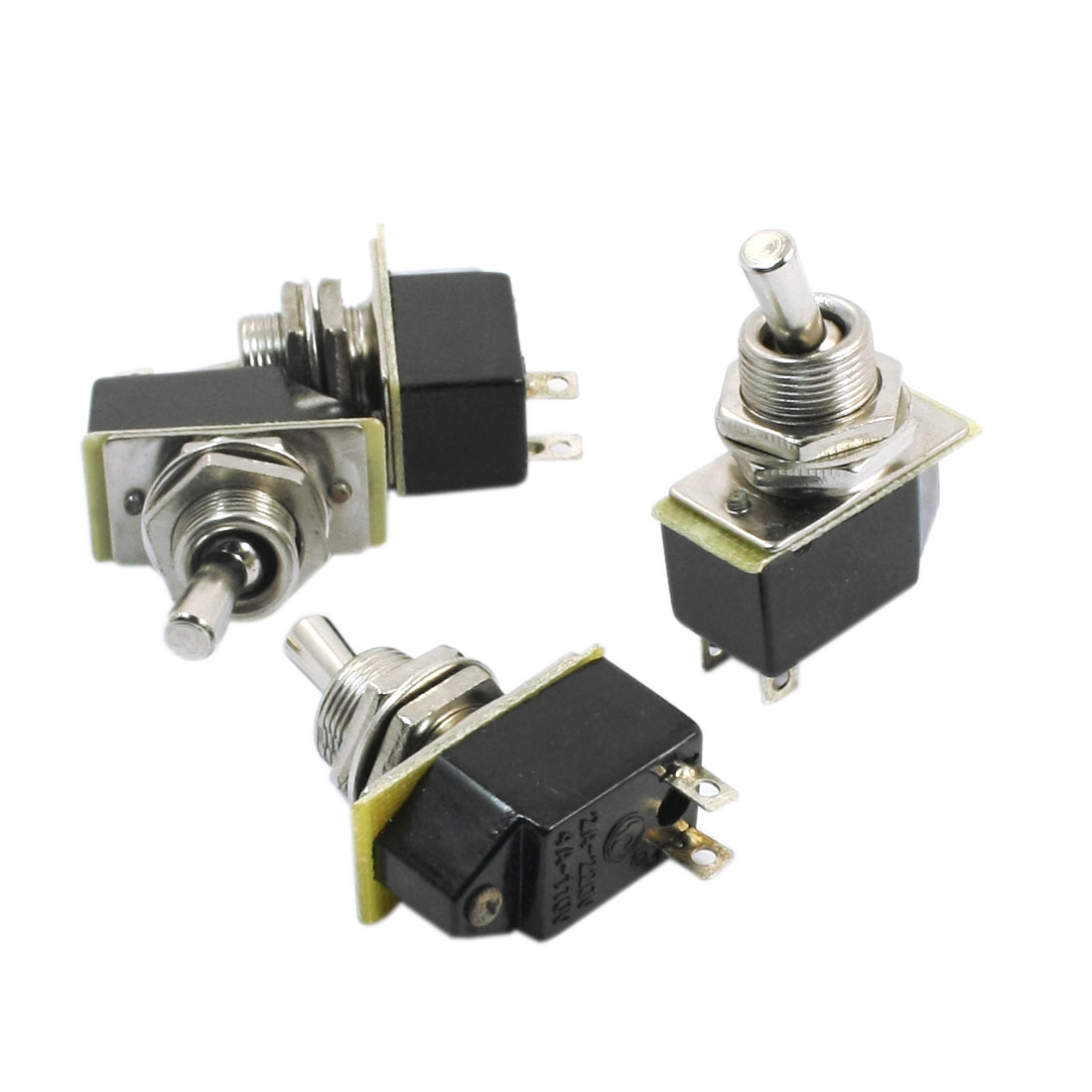 AC 110V 4A ON/OFF 2 Positions 2 Terminals Self Locking Toggle Switch Black 4pcs