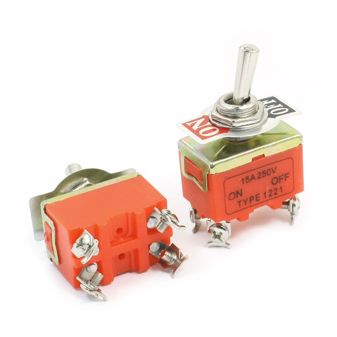 AC 250V 15A DPST ON-OFF 2 Positions Latching Toggle Switch E-TEN1221 2pcs