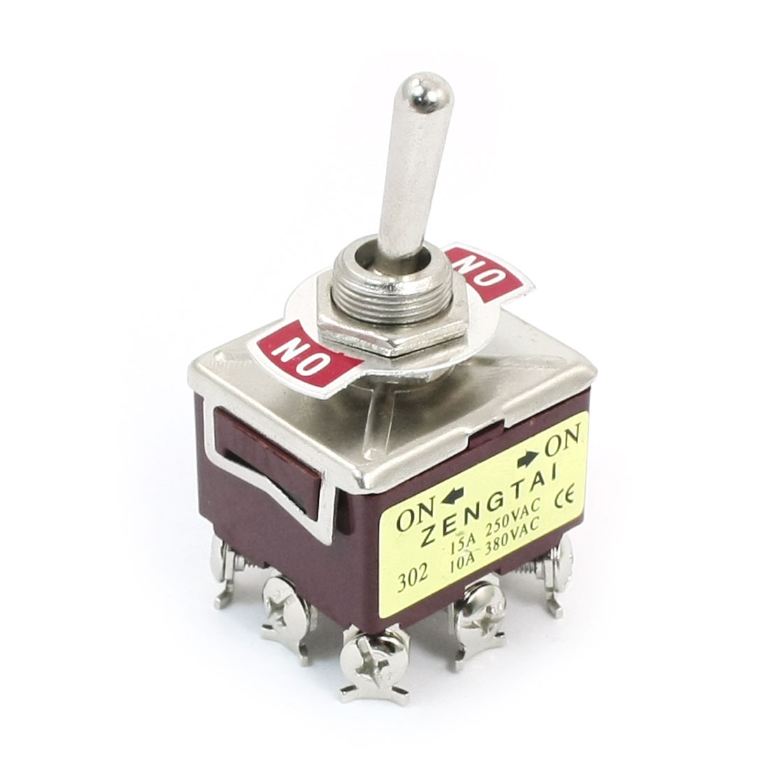 ON-ON 3PDT 9 Screw Terminal Rocker Type Toggle Switch AC 380V 10A Brick Red