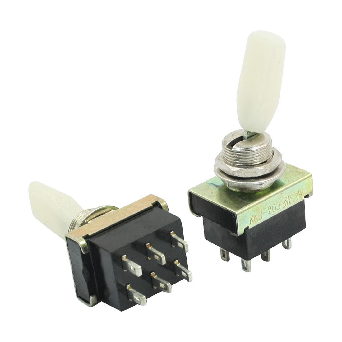 Plastic Rocker 2PDT ON/OFF/OFF 3 Position Toggle Switch AC 220V 3A KN3-203 2pcs