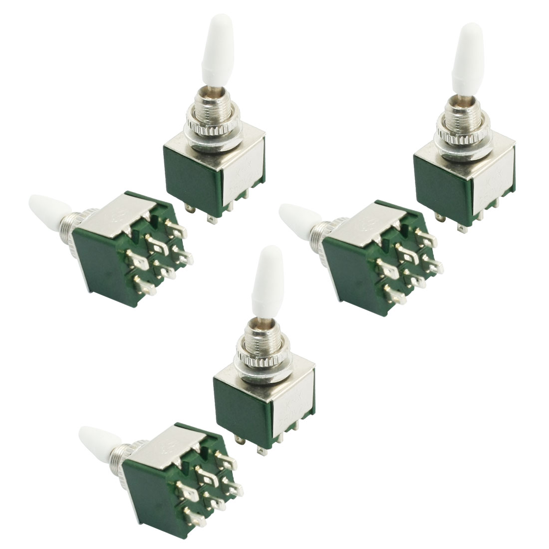 AC 250V 2A 2 Positions DPDT Latching Electric Toggle Switch Green 6pcs