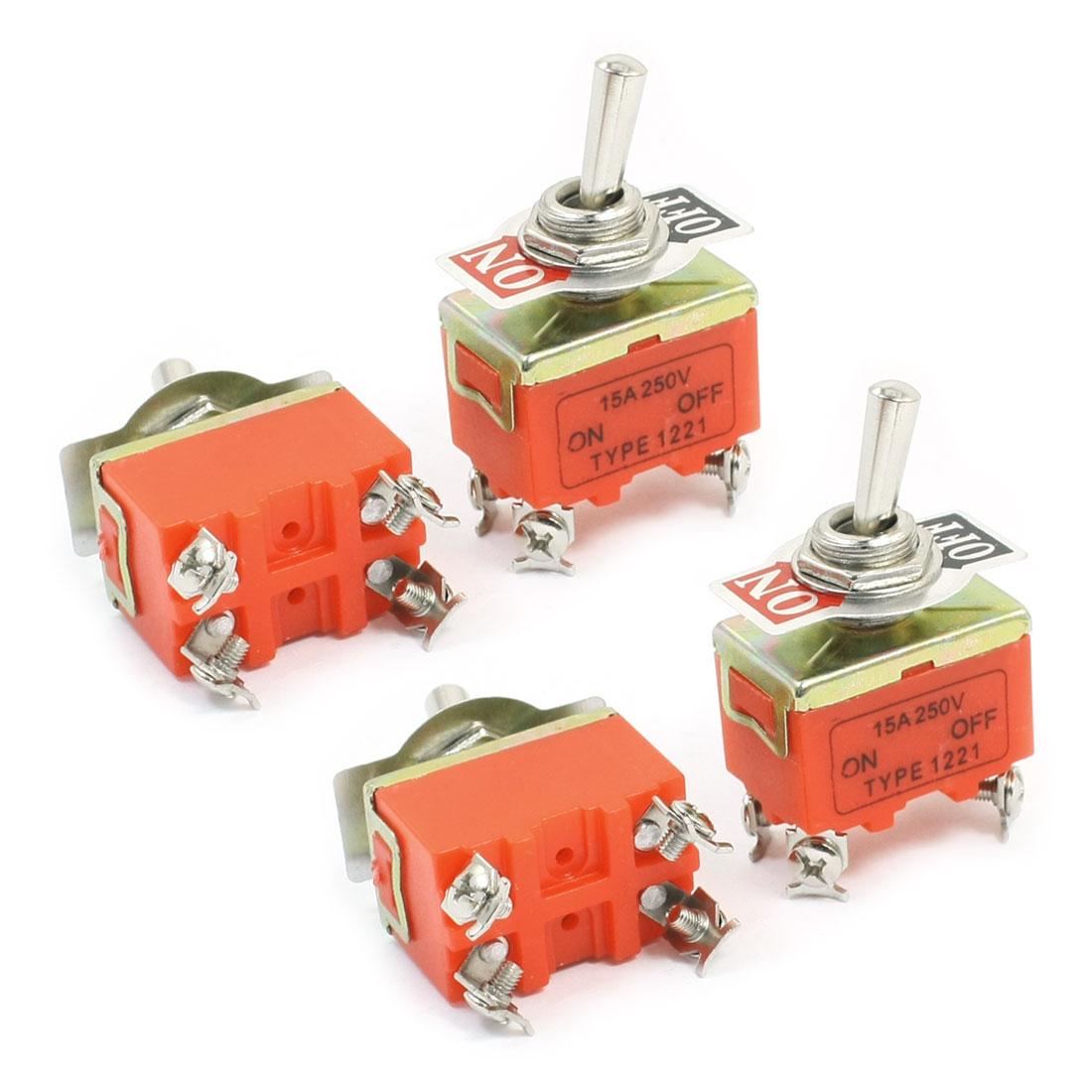 ON-OFF DPST 4 Screw Pin Rocker Type Toggle Switch AC 250V 15A E-TEN1221 4pcs