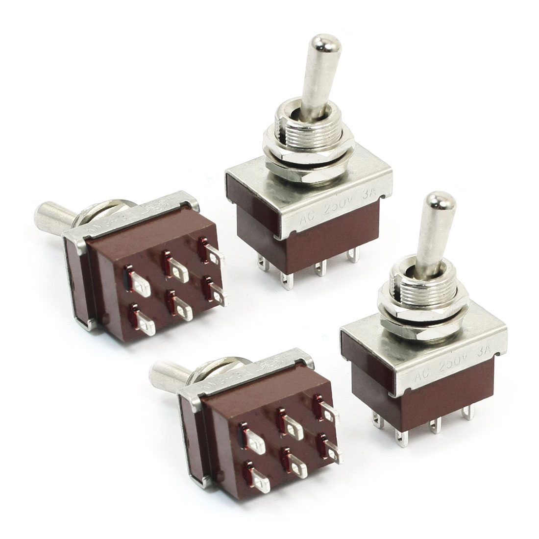 Panel Mount 6 Pin 2PDT ON/OFF 2 Position Toggle Switch AC 250V 3A KN3-3 4pcs