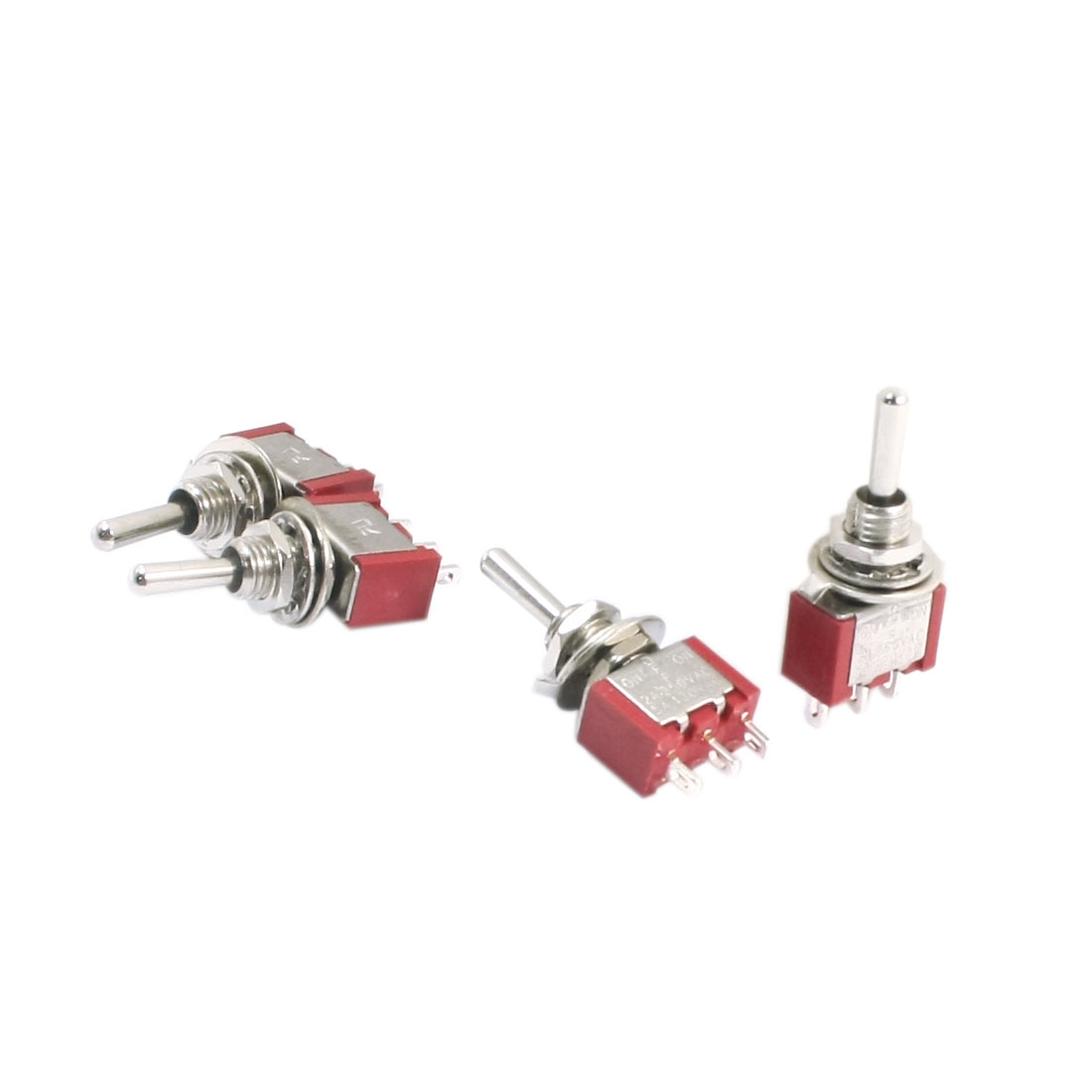 SPDT ON-OFF-ON 3 Position Momentary Electric Toggle Switch AC 120V 5A Red 4pcs