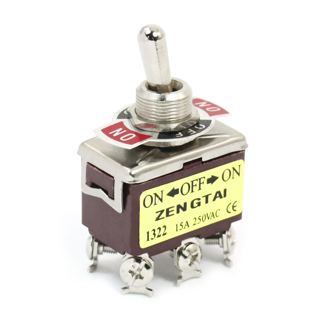 11mm Panel Mount DPDT ON/OFF/ON 3 Position Toggle Switch AC 250V 15A E-TEN1322