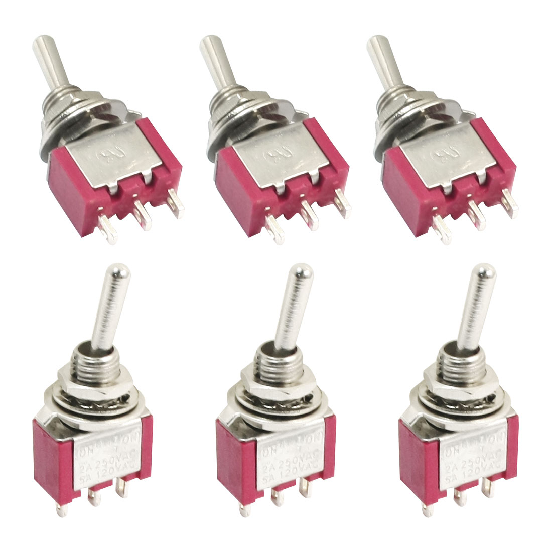 SPDT ON-OFF-ON 3 Position Momentary Electric Toggle Switch AC 120V 5A Red 6pcs