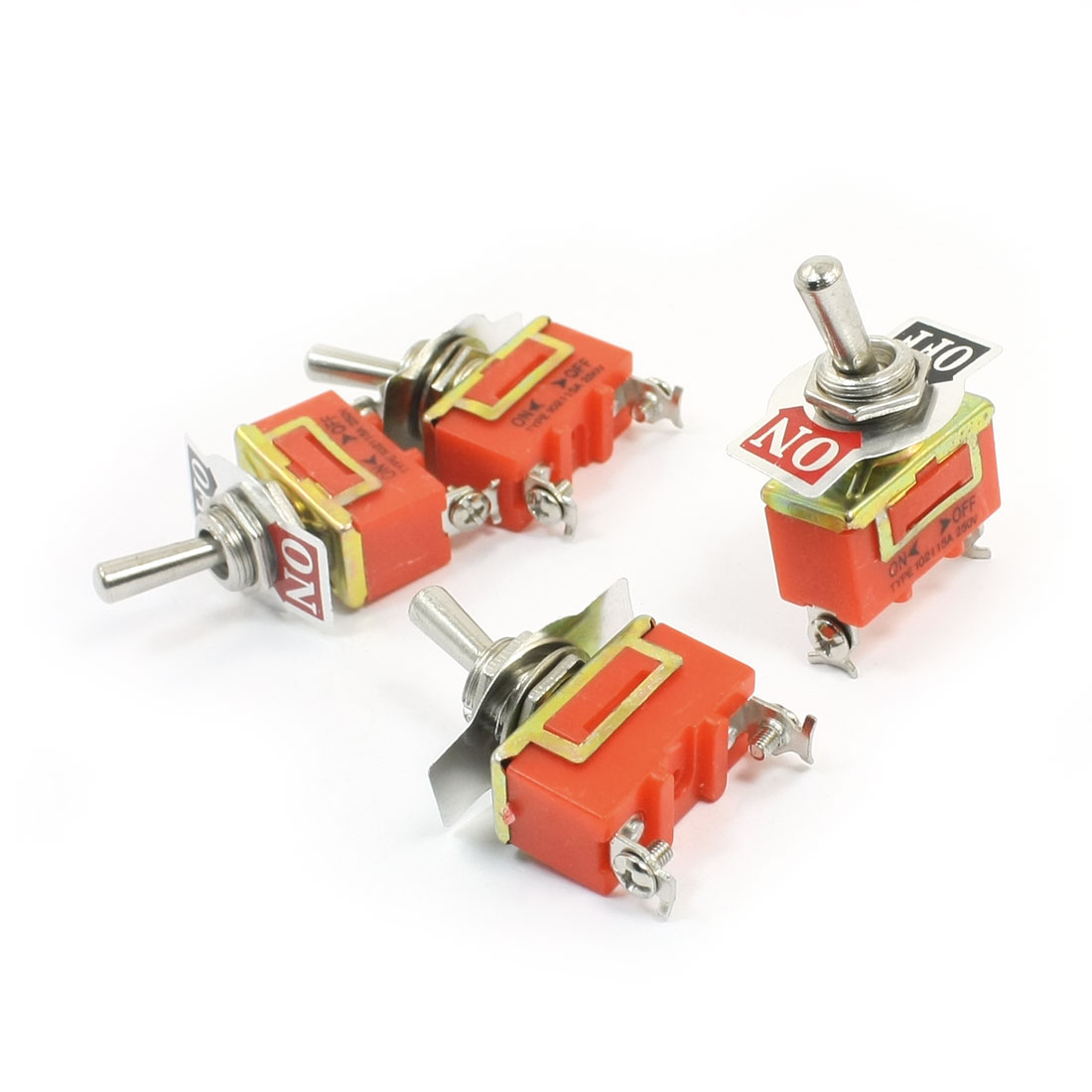 Spare Parts AC 250V 15A ON/OFF 2 Positions 2 Pin Toggle Switch E-TEN1021 4pcs