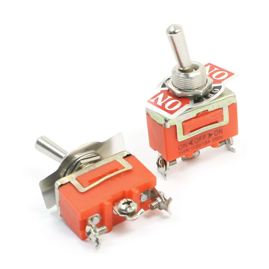 SPDT ON/OFF/ON 3 Position Power Control Toggle Switch AC 250V 15A E-TEN1122 2pcs