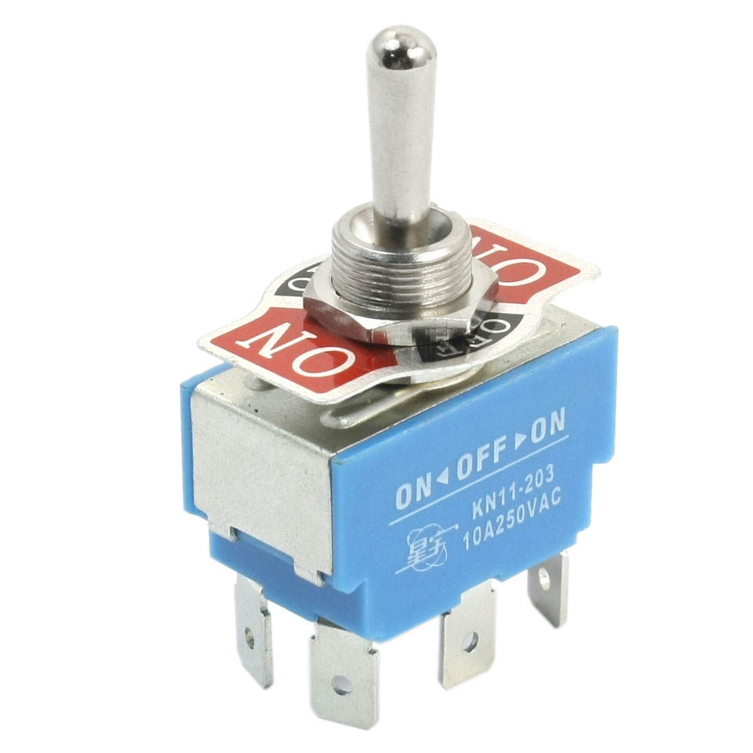 12mm Panel Mount DPDT ON/OFF/ON 3 Position Toggle Switch AC 250V 10A KN11-203