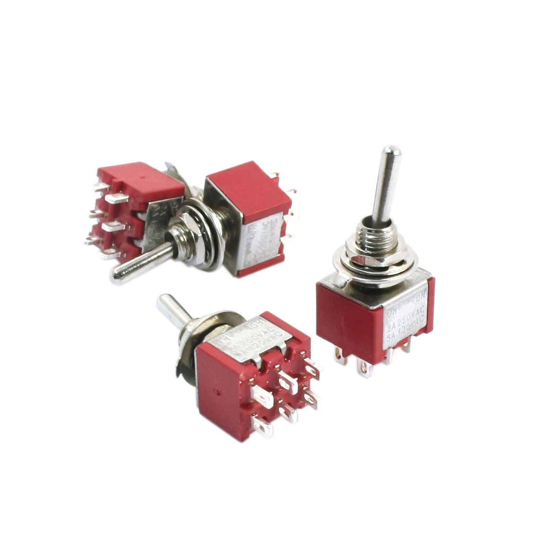 Spare Parts 6mm Panel Mounted ON/ON DPDT Toggle Switch AC 120V 5A Red 4pcs