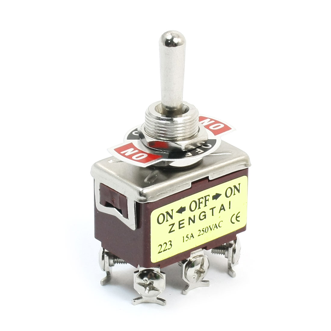11mm Panel Mount DPDT ON/OFF/ON 3 Position Toggle Switch AC 250V 15A E-TEN223