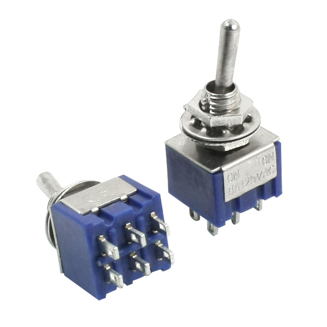 DPDT ON/ON 2 Position 6 Pin Electric Part Toggle Switch AC 125V 6A Blue 2pcs
