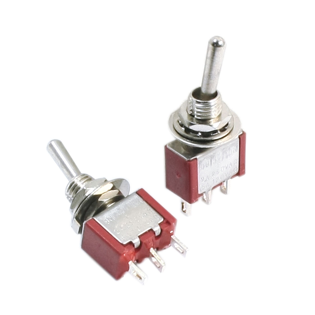 AC 120V 5A ON-OFF-ON 3 Positions 3 Pole Latching Toggle Switch SPDT Red 2pcs