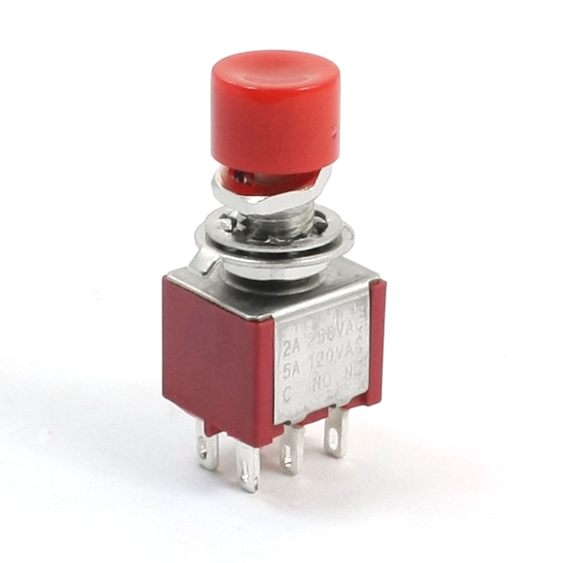 AC 120V 5A Red Cap 6 Pin DPDT 2 Positions Momentary Mini Push Button Switch