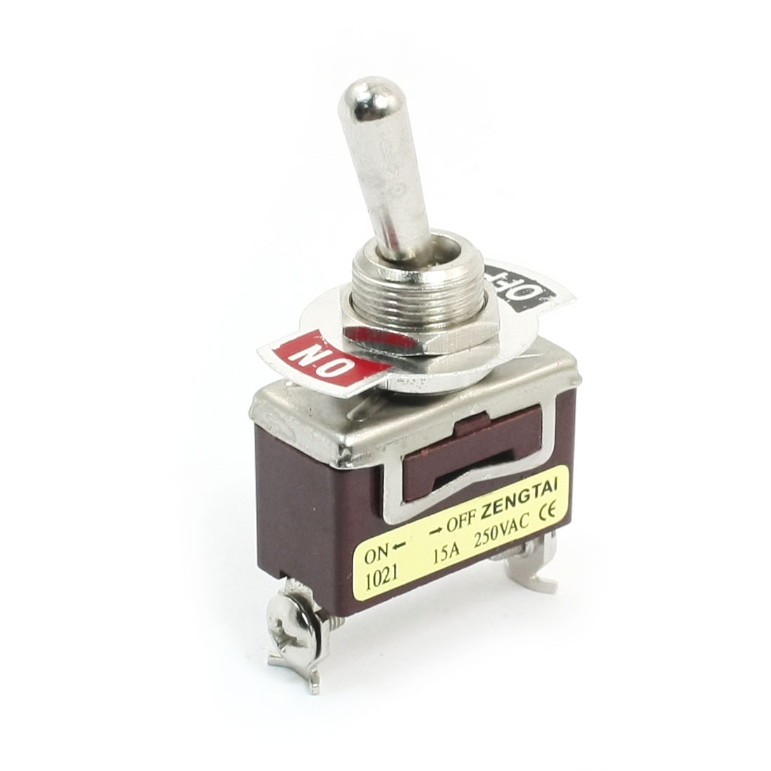 11mm Panel Mount SPST ON/OFF 2 Position Toggle Switch AC 250V 15A E-TEN1021