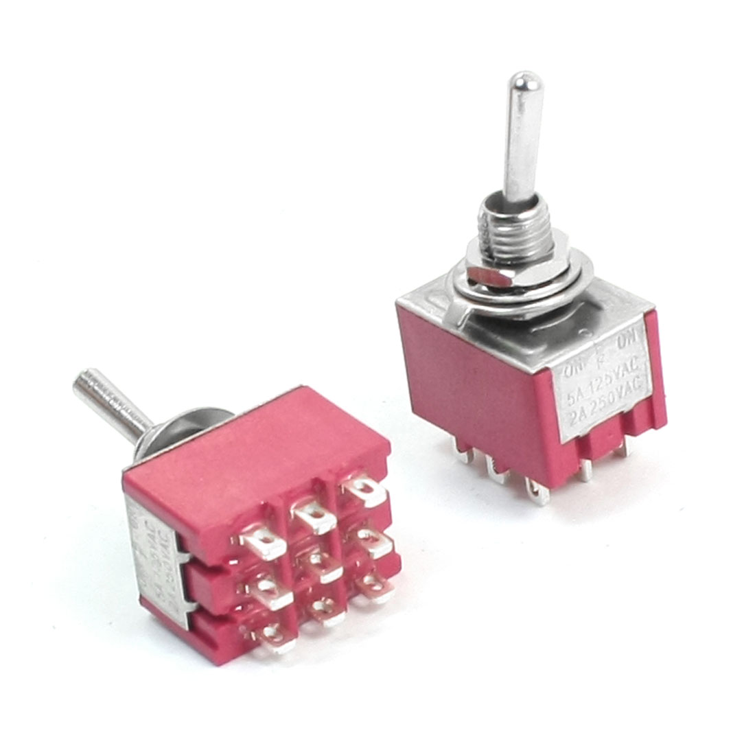 AC 125V 5A ON/OFF/ON 3 Positions 9 Pin Self Locking Toggle Switch Red 2pcs