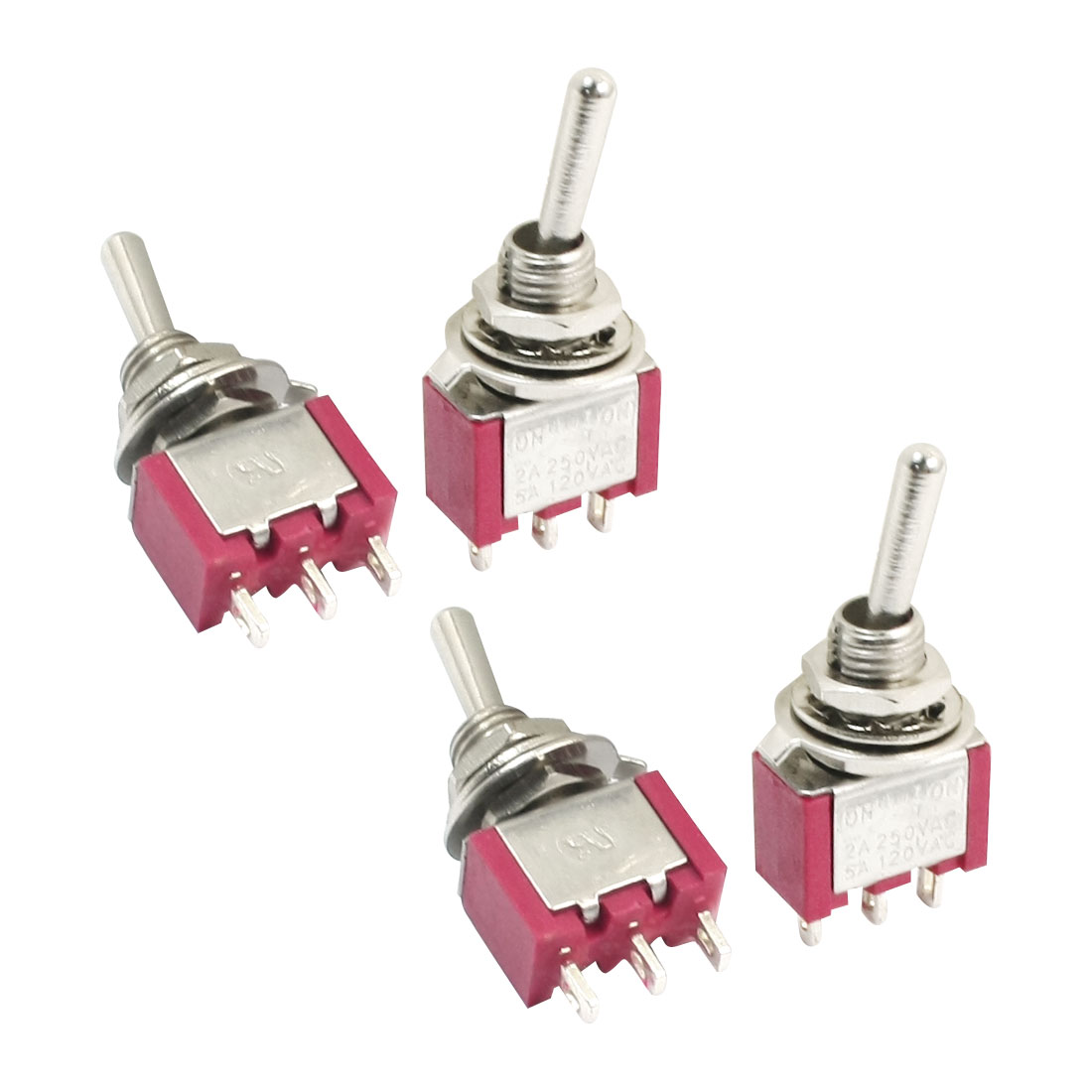 Panel Mount SPDT ON-OFF-ON 3 Position Locking Toggle Switch AC 120V 5A Red 4pcs