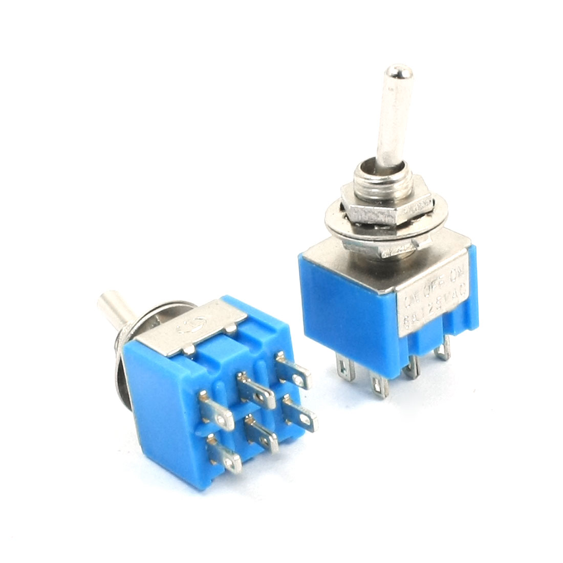6mm Panel Mounted 6 Pin ON/OFF/ON DPDT Toggle Switch AC 125V 6A Blue 2pcs