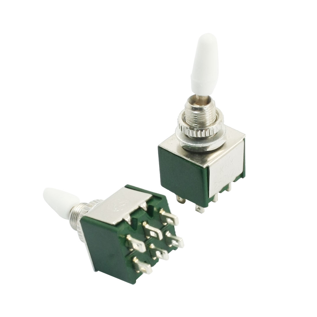 Panel Mount 2 Positions 6 Pin DPDT Toggle Switch AC 250V 2A Green 2pcs