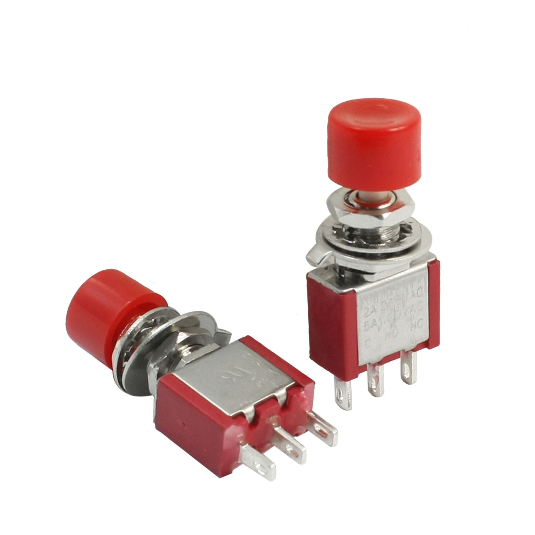 AC 250V 2A 3 Pole SPDT 1NO 1NC Momentary Red Round Push Button Switch 2Pcs