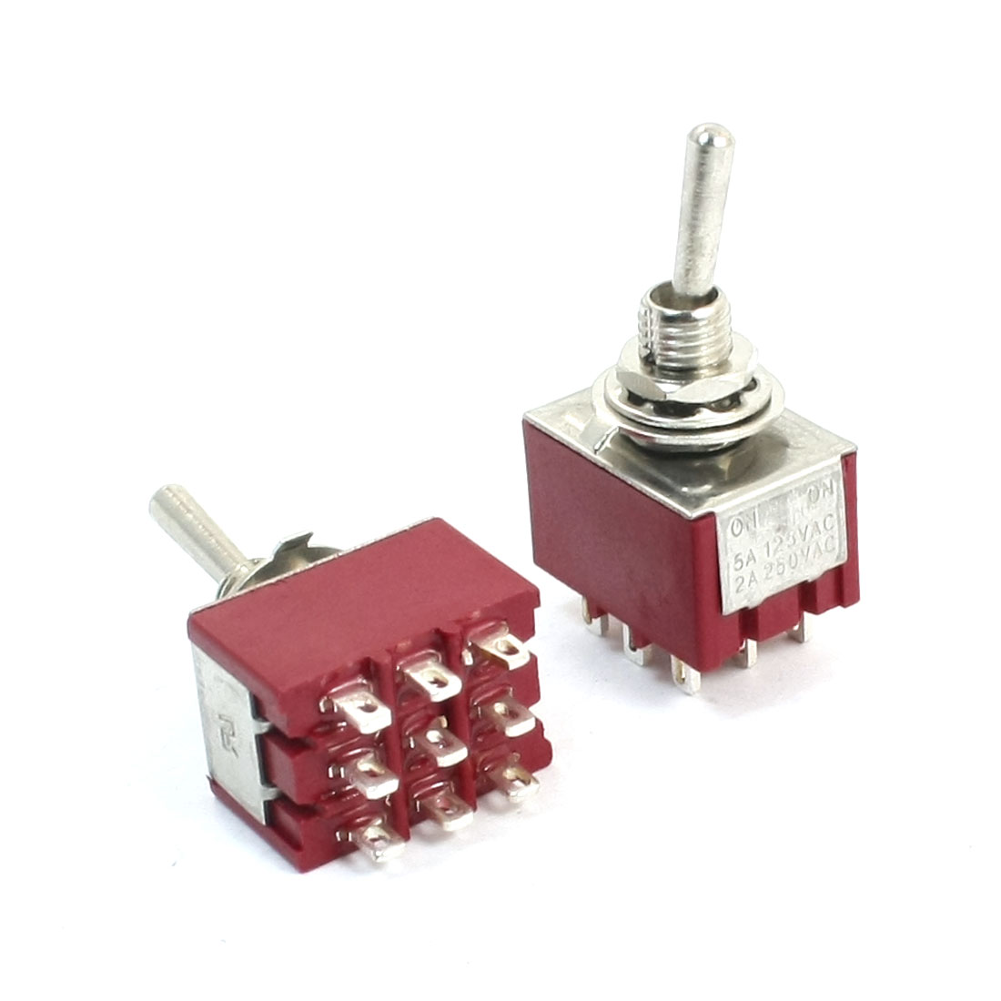 3PDT ON/ON 2 Position Circuit Control Toggle Switch AC 125V 5A Red 2pcs