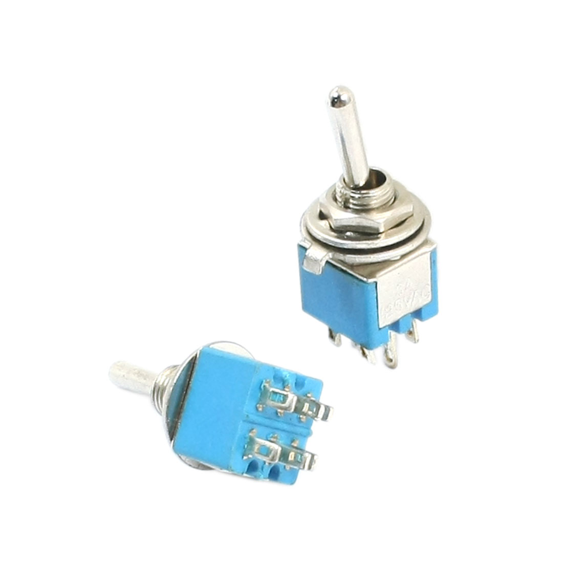 DPDT ON/ON 2 Position 6 Pin Circuit Control Toggle Switch AC 125V 3A Blue 2pcs