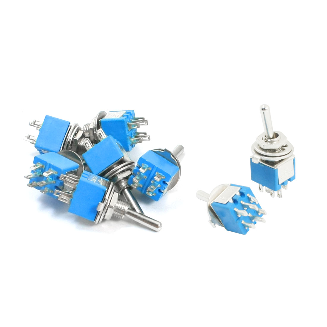 AC 125V 3A ON/ON 2 Positions 6 Pin Latching Power Toggle Switch Blue 8pcs