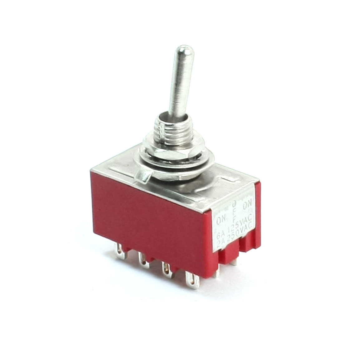 6mm Panel Mount 4PDT ON/OFF/ON 3 Position Power Control Toggle Switch AC 250V 2A