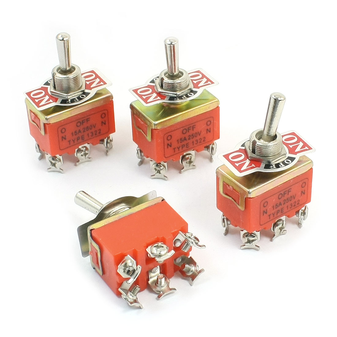AC 250V 15A 2PDT ON-OFF-ON 3 Positions Latching Toggle Switch E-TEN1322 4pcs