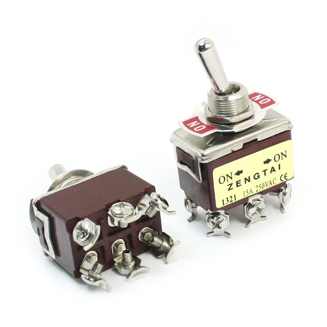 DPDT ON/ON 2 Position Power Control Toggle Switch AC 250V 15A E-TEN1321 2pcs