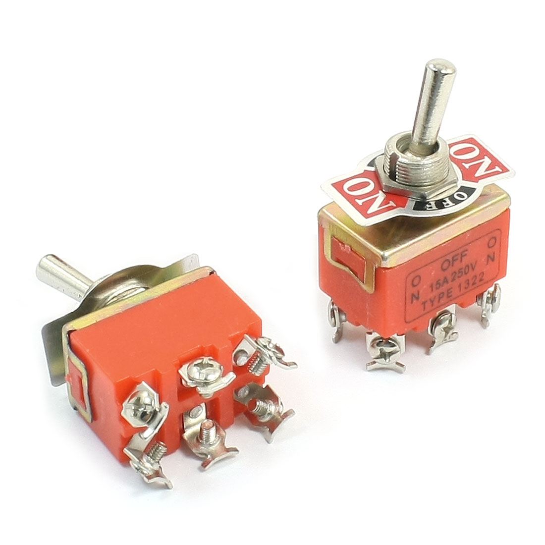 Panel Mount 2PDT ON/OFF/ON 3 Position Toggle Switch AC 250V 15A E-TEN1322 2pcs