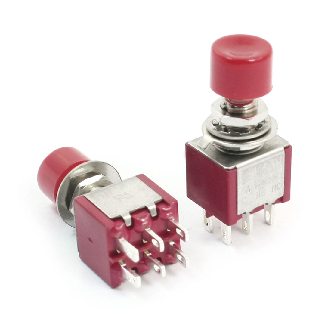 AC 250V 2A 6 Pin DPDT 2NO 2NC Momentary Red Round Push Button Switch 2Pcs