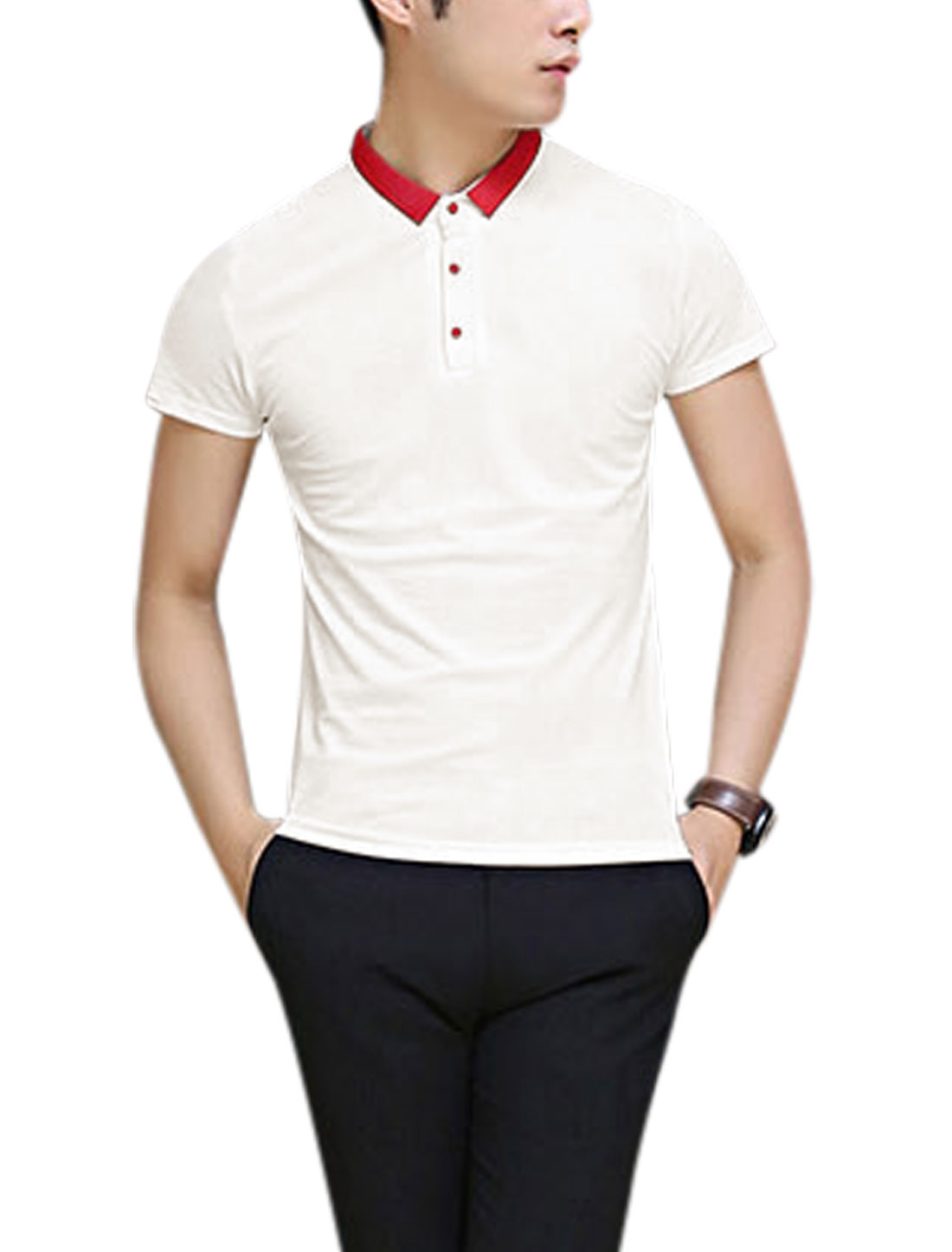 Men Point Collar Short Sleeve Polo Shirt White M