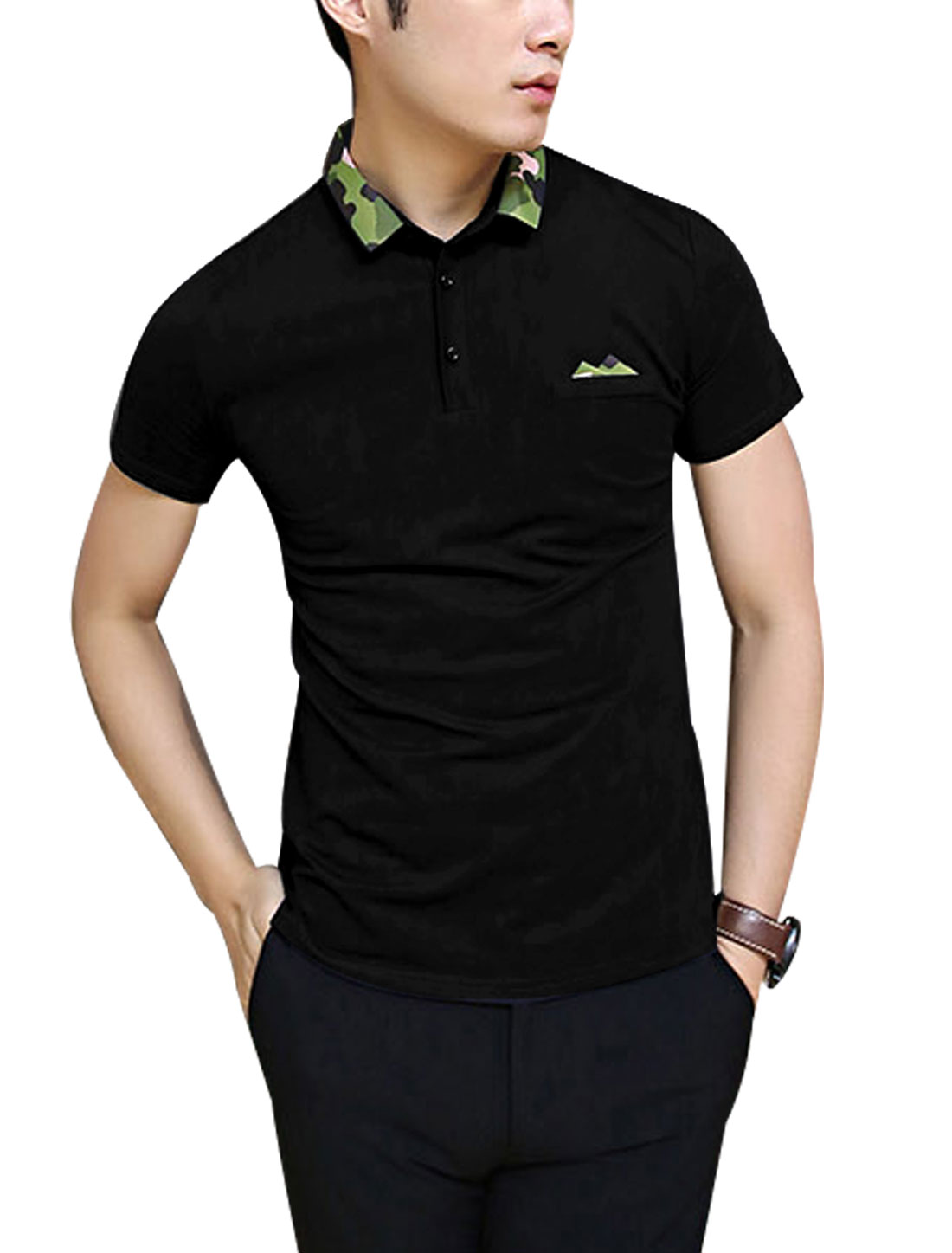 Men New Style Point Collar Camouflage Prints Polo Shirt Black M
