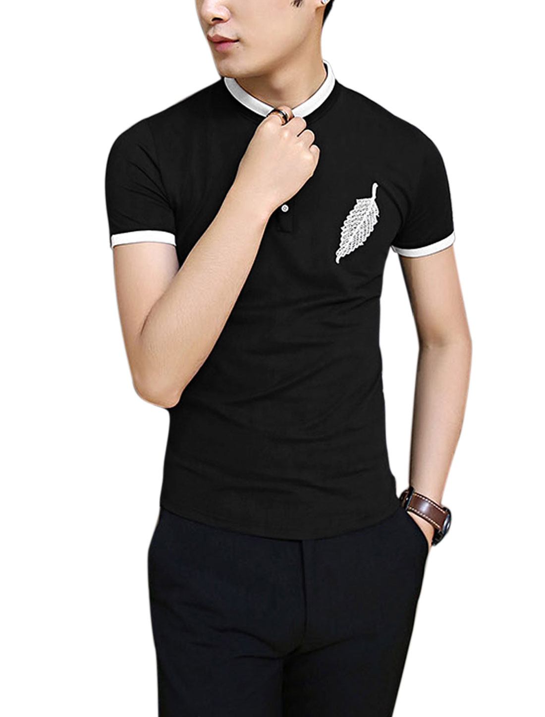 Men Convertible Collar Leaf Embroidery Slim Fit Chic Polo Shirt Black M