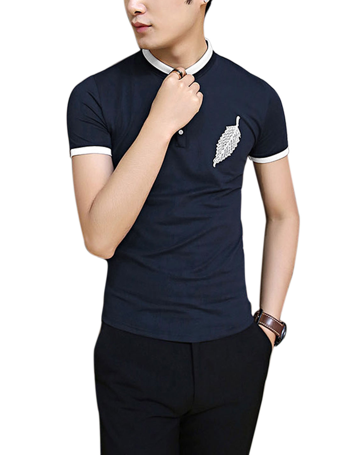 Men 1/4 Placket Leaf Embroidery Patch Chic Polo Shirt Navy Blue M