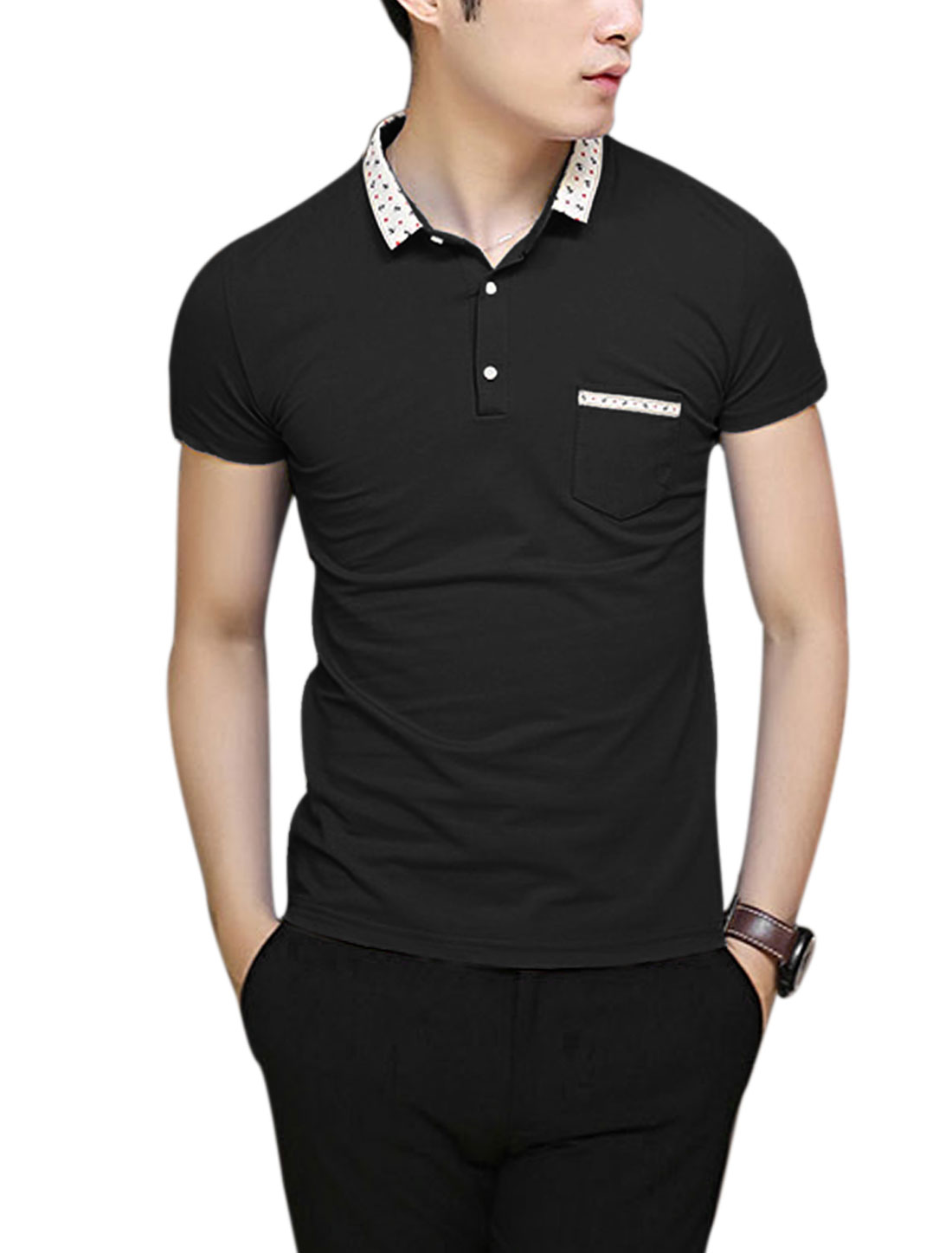 Men Point Collar Three Buttons Closed Slim Fit NEW Polo Shirt Black M