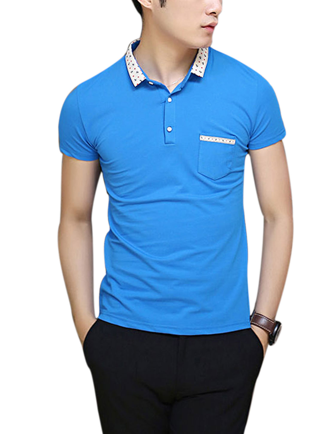 Men Point Collar Anchor Stars Pattern Detail Slim Fit Polo Shirt Sky Blue M